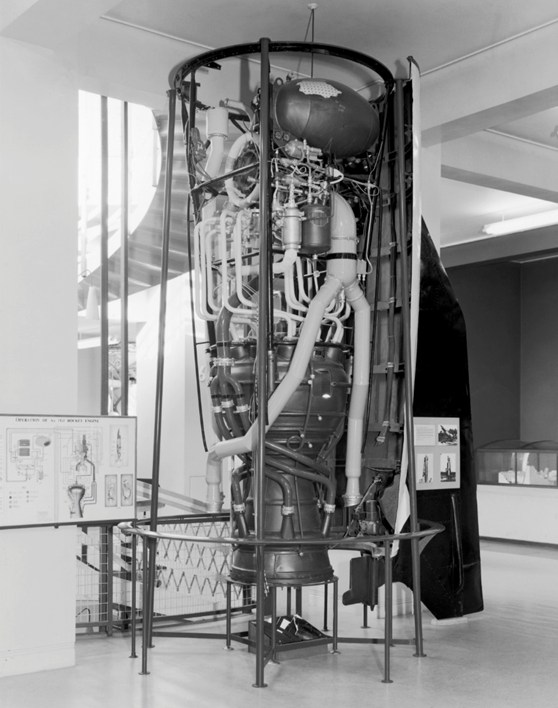 Black and white photograph of a V2 rocket on display as part of an exhibition
