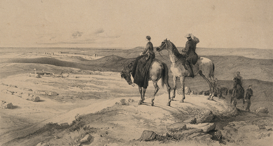 Black and white lithograph of a scene depicting Florence Nightingale on horseback looking over a graveyard