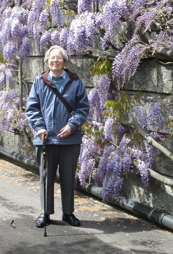 Colour photograph of Anita McConnell in the Basel Botanical Gardens