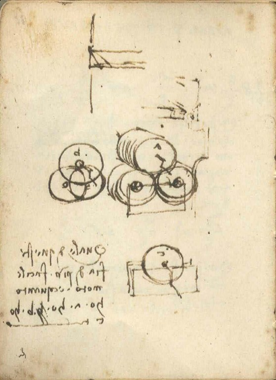 Colour photograph of a page of Leonardo da Vincis Codex Arundel sketch book