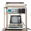 Colour photograph of an analogue storm surge modelling machine