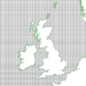 Diagram of a mesh grid sytem over the British Isles commonly used for modern storm surge modelling