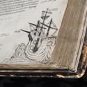 Colour photograph of an ancient book showing a doodle of a ship in ink
