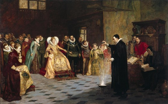 Oil painting of John Dee performing a scientific experiment in front of Quenn Elizabeth and courtiers