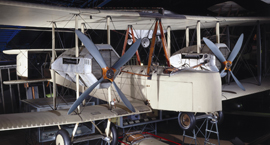 Colour photograph of a Vickers Vimy aircraft in the Science Museum Flight Gallery