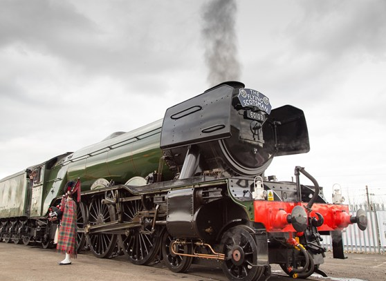 Colour photograph of the Flying Scotsman steam locomotive following renovation