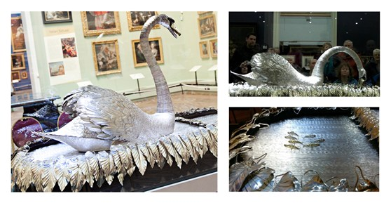 Composite image of three colour photographs of a silver mechanical swan model at the Bowes Museum