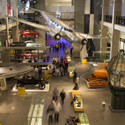 Colour photograph of an elevated view of the Making the Modern World gallery in the Science Museum London
