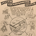 Printed advertisment for a floating floor soundproofing system made by Cullum and co