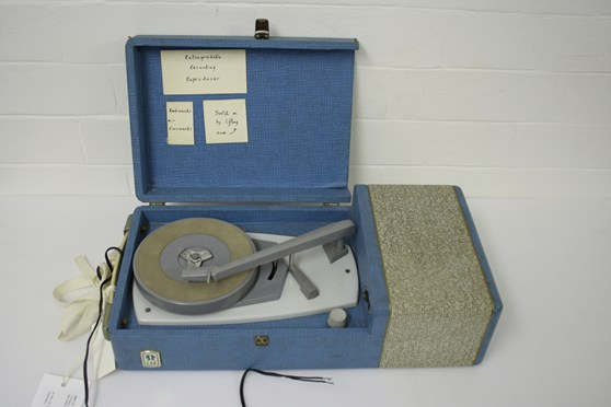 Colour photograph of a portable record player
