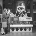 Black and white photograph of Science Museum visitors experiencing an early radio guided tour
