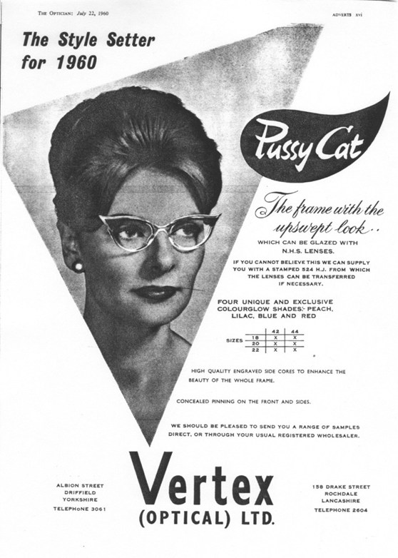 Black and white print advertisment from 1960 by Vertex Optical showing a woman wearing Pussy Cat upswept spectacles