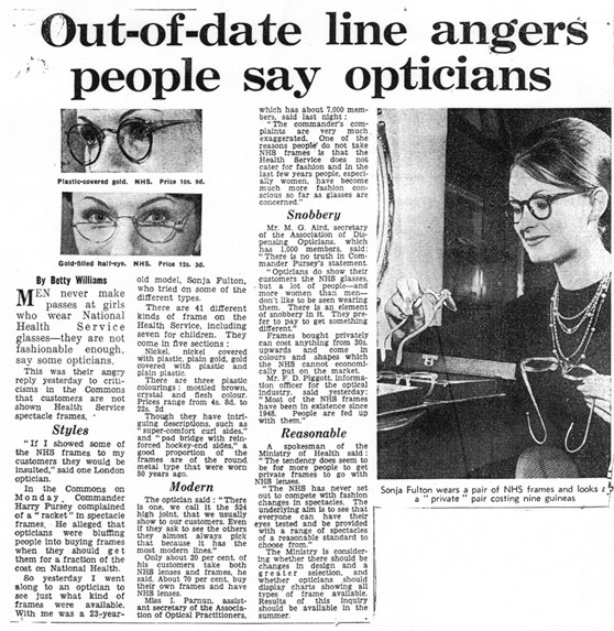 Newspaper article from 1960 about opticians opinions on out of date NHS spectacle styles