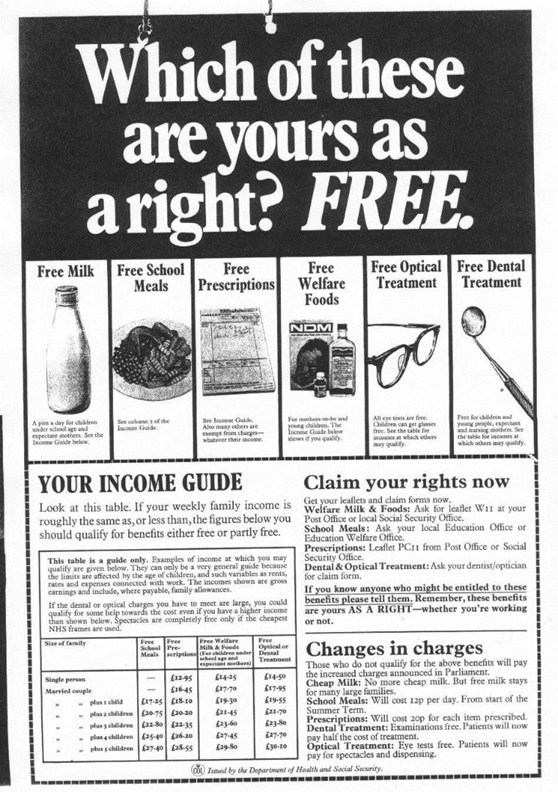 1971 Poster produced by the Labour Government informing of items that are free to the public on the NHS