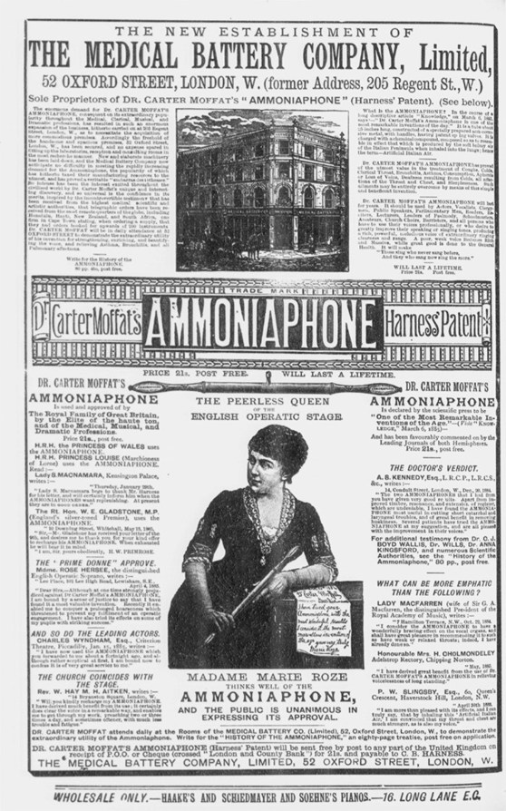 A 19 century print advertisement for doctor Carter Moffats Ammoniaphone