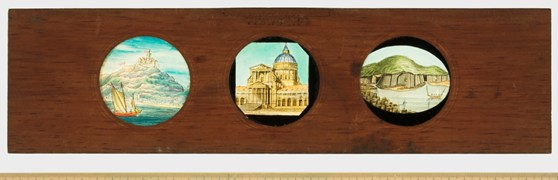 A Copper Plate Slider by Carpenter & Westley showing views of Public Buildings Saint Paul's Cathedral Melrose Abbey and Southwark Bridge