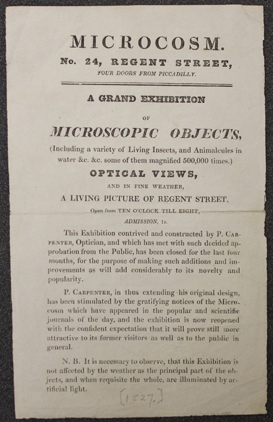 A handbill for Philip Carpenters Microcosm