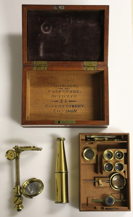 Colour photograph of a small microscope by Philip Carpenter in mahogany box