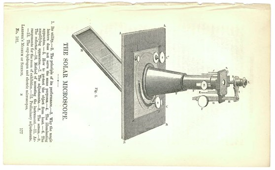 An illustration of a Solar Microscope from 1855