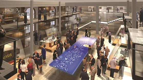 A computer generated design proposal for the Chemical Heritage Foundation including an interactive media table in the centre of the room