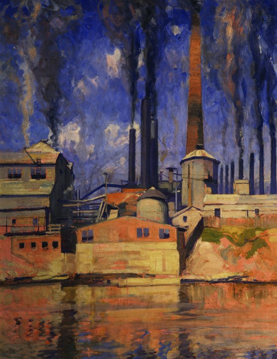 Oil painting of an industrial waterside scene showing smoking pot stacks