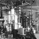 Black and white photograph of a cryogenic laboratory in 1894