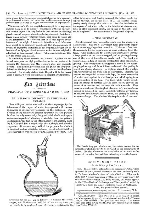 Page from a pamphlet about new inventions showing a diagram of Nelsons inhaler