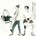 Sketch in watercolour of leg amputees undergoing rehabilitation