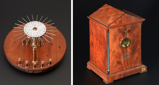 Colour photograph montage showing Wheatstones escapement or dial telegraph showing the transmitter and receiver side by side