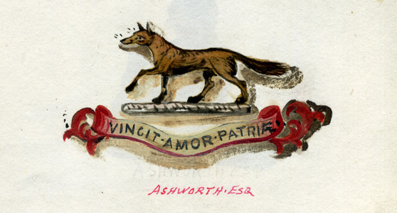Pen and ink drawing of a family crest depicting a fox and a motto in latin