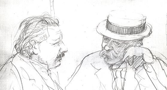 Pencil sketch of two moustachioed men in conversation