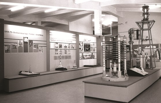 Black and white photograph of an exhibition celebrating forty years of an Austrian national broadcaster
