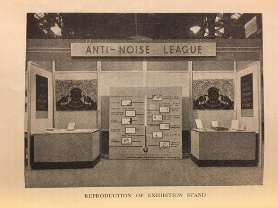 Photograph on an anti noise league information stand from 1935