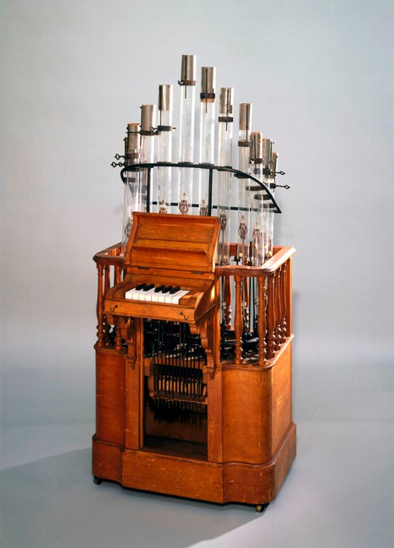 Colour photograph of a pyrophone musical instrument