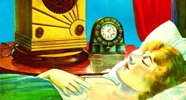 Painted illustration of a sleeping woman next to an audio device with the caption the Hypnotone puts you to sleep