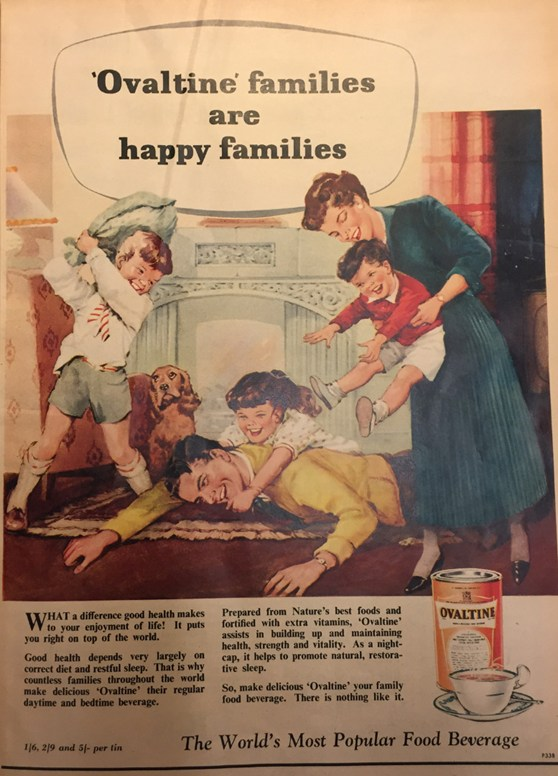 Colour advertisement in a magazine for Ovaltine showing an illustration of a family playing. The caption reads Ovaltine families are happy families