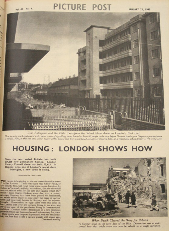 Page from Picture Post magazine showing housing in London. The caption reads Housing: London shows how