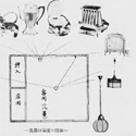 Japanese illustration depicting an example of electrical appliance positioning within a living room