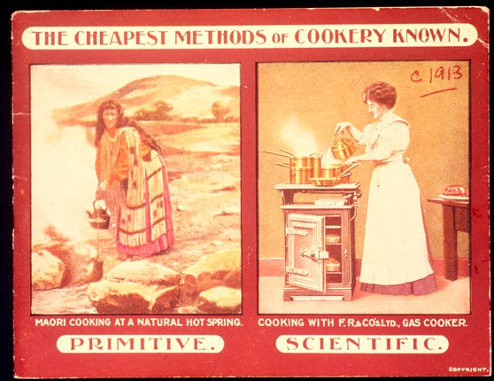 Magazine advertisement for a gas cooker showing a maori cooking at a hot spring next to a western woman cooking on a stove