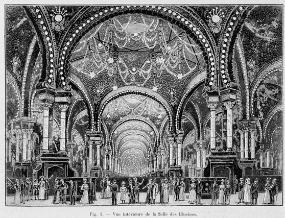 Black and white illustration of a grand hall of illusions