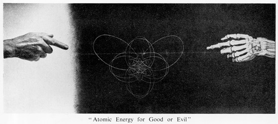 Black and white leaflet showing a nucleus a human hand and a skeletal hand with the message atomic energy for good or evil