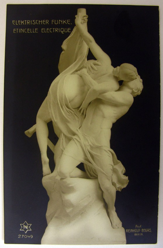 Cover of a museum brochure showing a carved statue of two lovers kissing