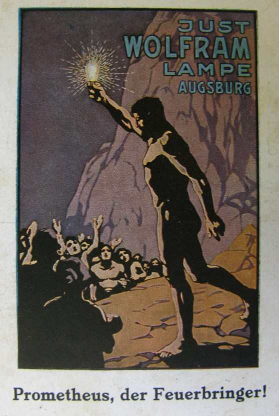 Poster showing a painting of Prometheus carrying a shining electric lightbulb