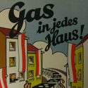 Leaflet showing a cartoon depiction of gas ovens walking their way through a town