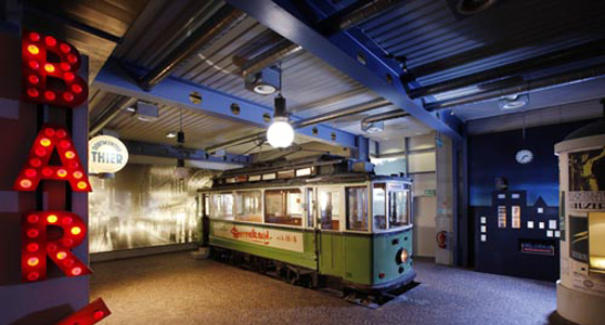 Section of a tram on display within the Museum