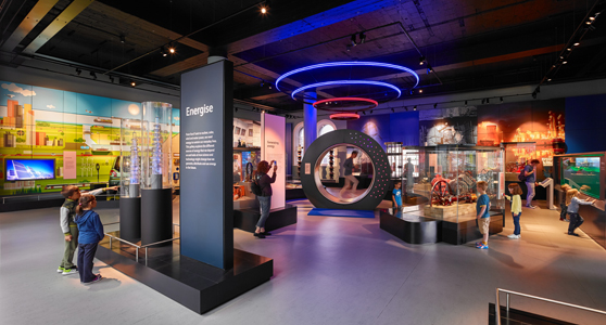 Colour photograph of the Energise gallery in the National Museum of Scotland
