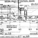 Pen and ink technical drawing of a train engine design