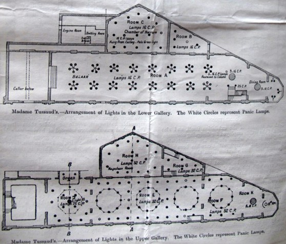 Black and white building plan illustration showing the lighting arrangement at a gallery of Madame Tussauds