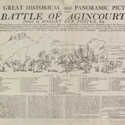 Black and white illustrated advertisement for a viewing of a panoramic painting of the Battle of Agincourt