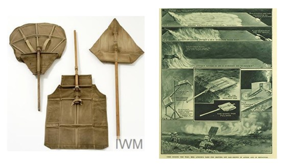 Composite of two images showing a fabric fan for dispersing gas and an illustration demonstrating the fans use on the battlefield